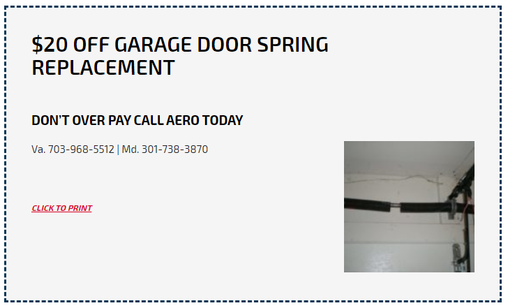 Save $20 on Garage Door Spring Replacement at Aero Garage Doors