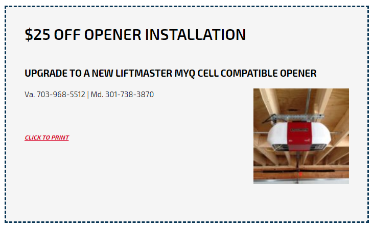 Coupon of $25 Off on Opener Installation at Aero Garage Doors